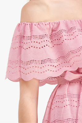 Natalie Off Shoulder Eyelet Dress