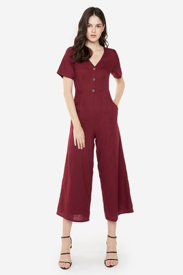 Milly Buttoned Linen Jumpsuit