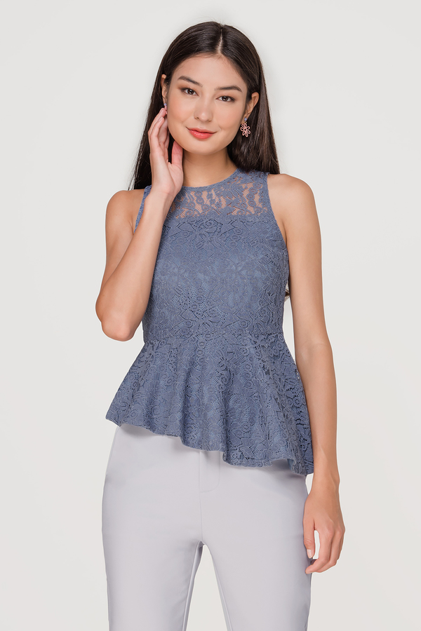 Brit Lace Asymmetrical Peplum Top