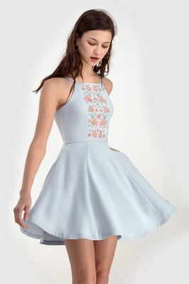 Delilah Embroidered Swing Dress