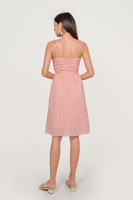 Roseann Broderie Ruched Midi Dress