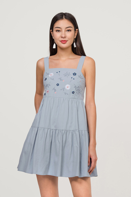 Rosewood Embroidered Babydoll Playsuit